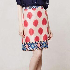 Maeve Anthropologie Ikat Watercolor Silk Skirt 2